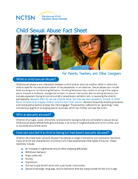 Child Sexual Abuse Fact Sheet: For Parents, Teachers, and Other Caregivers