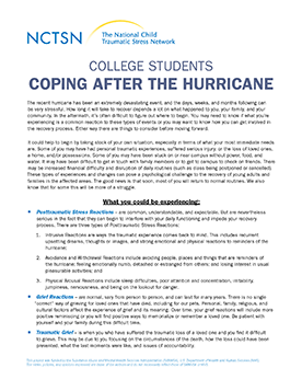 hurricane resources the national child traumatic stress network