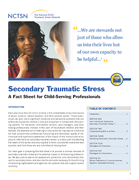 Secondary Traumatic Stress For >> Secondary Traumatic Stress A Fact Sheet For Child Serving