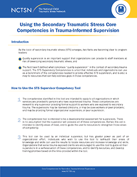 Secondary Traumatic Stress For >> Using The Secondary Traumatic Stress Core Competencies In Trauma